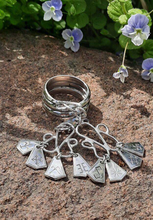 Septiņdienu gredzens sudrabā ar dalītājiem, līgavu gredzens.