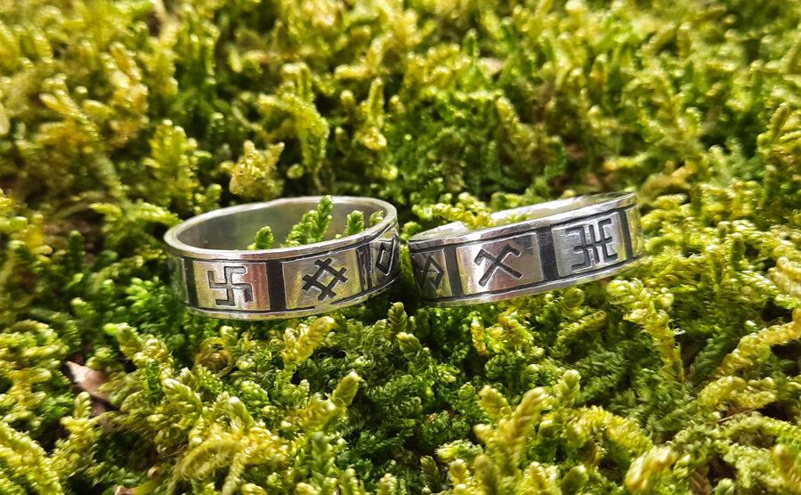 Sudraba gredzens ar Latvju zīmēm